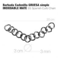 Wide curb chain in matt stainless steel